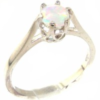 High Quality 925 Solid Sterling Silver Genuine Natural Colorful Opal Solitaire Ring - Finger Sizes 4 to 12 Available