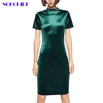 SORCHIDF Women Velvet Dresses Vintage Stand Collar Short Sleeve Cloth Velvet Dress Silm Solid Elegant Christmas Party Dress
