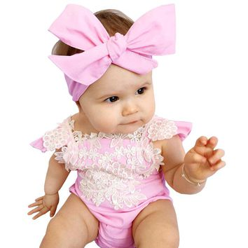 New Cotton Baby Rompers With Headband 2pcs Pink Baby Girl Romper Lace Floral Overalls for Children Baby Clothes 0-24 months