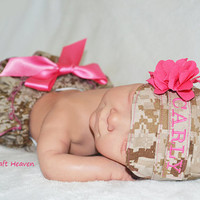Baby girl military cap and diaper cover, (ALL BRANCHES) military cap,U.S. marines, Marine Desert, Military ruffled bloomers