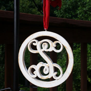 Wooden Monogram Initial S Ornament