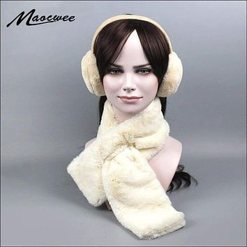New Velvet Women Scarf Earmuffs Set, Brand Warm Winter Scarves, for Girl Fashion, Neck Warm, Comfortable Heat insulation