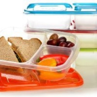 EasyLunchboxes 3-compartment Bento Lunch Box Containers (Set of 4). BPA-Free. Easy-Open Lids (Not Leakproof)