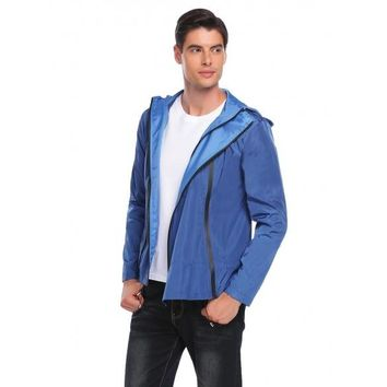Blue Men Casual Hoodie Long Sleeve Front Zipper Pocket Raincoat