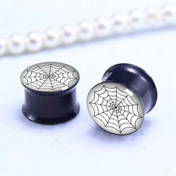 Spider net  ear Plug   , Screw on Gauge ear plugs , Black Titanium ear plugs ,
