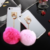 KISSCASE Girly Phone Cases For iPhone 6 6s 7 8 Plus Hard PC Luxury Case For iPhone X XR XS Max Cute Rabbit Fur Ball Mirror Coque