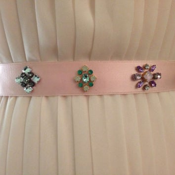 Mixed Pastel Crystal Jewelry Box Motif Satin Ribbon Bridesmaids Sash