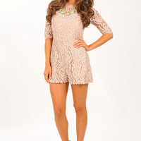 Sweet Southern Belle Romper: Taupe