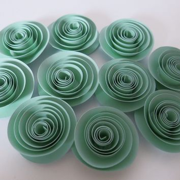 "Mint Green paper flowers set of 12, 1.5"" pastel roses for gender neutral baby shower decorations, wedding decor, bridal party table scatter"