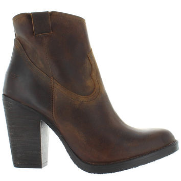 Musse & Cloud Josie - Brown Distressed Leather High Stacked Heel Bootie