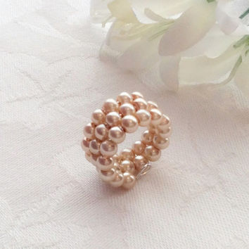 Champagne Gold Pearl Ring Champagne Jewelry Bridesmaid Jewelry Gold Ring Wedding