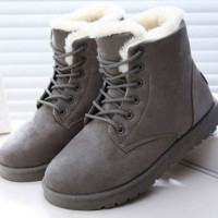 Hot Women Boots Snow Warm Winter Boots Botas Mujer Lace Up Fur Ankle Boots Ladies Winter Shoes Black R01