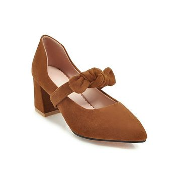 Women Pointed Toe Mary Janes Pumps Chunky Heels Shoes 5181