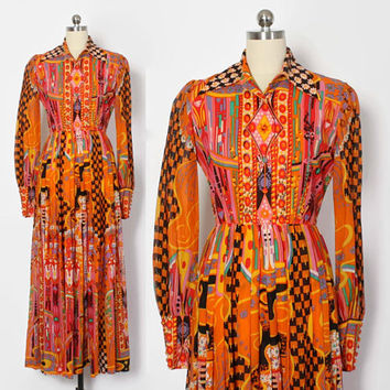 Vintage 60s Maxi DRESS / 1960s Bright Malcolm Starr Psychedelic Dress