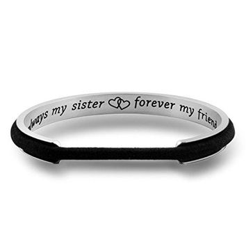 Zuo Bao Sister Bracelet Always My Sister Forever My Friend Hair Tie Bracelet Sister In Law Gift Sister of the Groom Cuff Bangle Bracelet