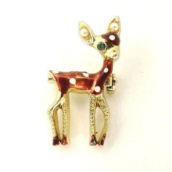 Christmas Doe Brooch Vintage Faux Pearl & Enamel Deer Animal Pin Spotted Deer Brooch Gift