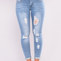 New Baby Blues Ankle Jeans - Light Blue Wash