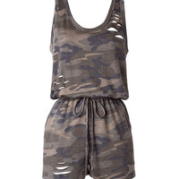 Camouflage Distressed Romper