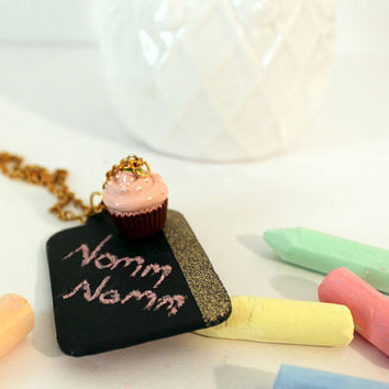 Pastel Cupcake Chalkboard Necklace