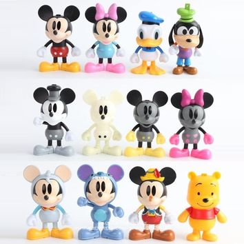 Disney Mickey Mouse Minnie 12pcs/set 9cm Action Figure Posture Anime Decoration Collection Figurine Toy model for children gift