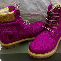 Custom Glitter Timberland Boots for Women