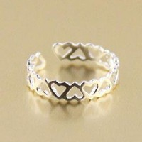 Super cute hollow heart-shaped tail ring sterling silver rin
