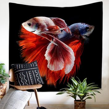 JaneYU Cross Border New Art Abstract Sea Bottom Fish Felt Polyester Tapestry Hanging Beach Towel