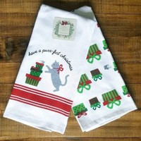 Ridgefield Home Set of 2 Cat & Mouse Christmas Print Kitchen Towels purr-fect