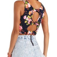 Textured Bow-Back Floral Print Crop Top - Navy Combo