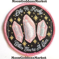 "Life Is Rocky 2.75"" Iron on patch 