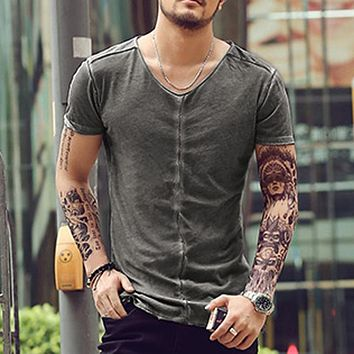 brand summer Men t-shirt short sleeve solid color 100% cotton T shirt Casual mens retro Tees 2016 High quality famous