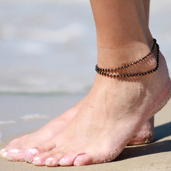 Black Anklet - Multistrand Ankle Bracelet - Gold Anklet - Foot Jewelry - Foot Bracelet - Chain Anklet - Summer Jewelry - Beach Jewelry