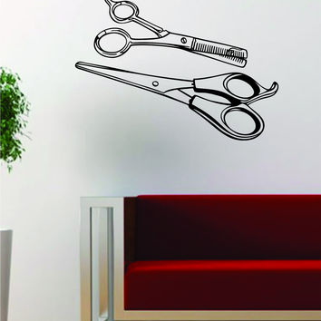 Two Scissors Design Barbershop Barber Hair Beauty Salon Decal Sticker Wall Vinyl Art Decor Travel