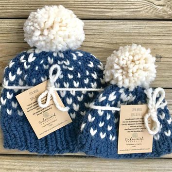 Mommy and Me Hats, Matching Hats, Matching Beanies, Baby Shower Gift, Baby Boy Gift, Gift for Mom, Newborn Gift, Handmade, Beanie, Pom Pom