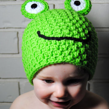 Frog Crochet Hat, Green Spring Hat, Newborn Photo Prop, Crochet Baby Hat, Boys Animal Hat, Froggy Toddler Hat, Kids Frog Hat, Spring Beanie