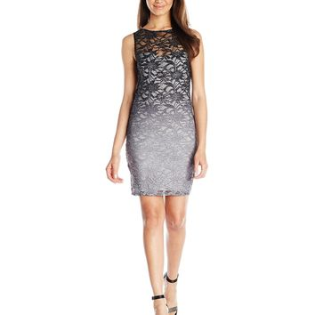 Jump Juniors' Ombre Glitter Lace Dress with Keyhole Back