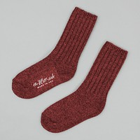 Merino Wool Ragg Socks, Red