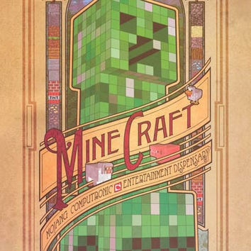 Minecraft Art Nouveau Video Game Poster 22x34