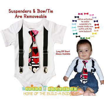 Baby Boy Valentine's Day Outfit Heart Print Tie and Suspenders