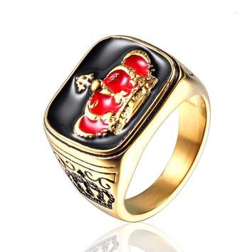 Punk Vintage King Crown Ring Gold Color Titanium Stainless Steel Mens Singet Rings Jewelry Drop Shipping