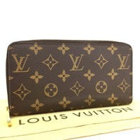 Authentic Louis Vuitton Monogram Zippy Zip Around Long Wallet purse /q-167