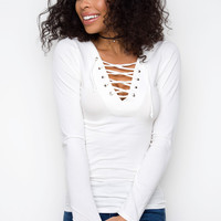After Party Lace Up Top - White