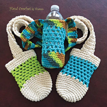 Water Bottle Sling, Drink Holder, Water Bottle Cozy,  Bottle Carrier, Crochet Bottle Bag, Cotton Bottle Bag, Water Bottle Pouch, Bottle Tote