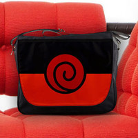 The Uzumaki Naruto Clan Symbol (うずまき一族) Nylon Messenger Sling Notebook Bag
