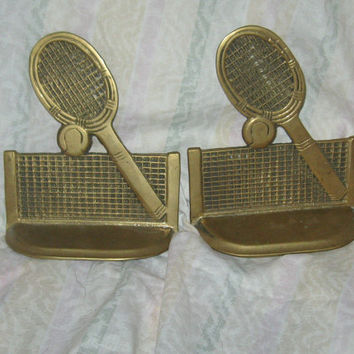 VINTAGE heavy  brass tennis theme bookends