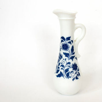 mini milk glass vase // white milk glass with blue flowers // Avon Delft Blue bud vase