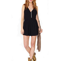 Black Chiffon Deep V Neck Zipper Back Playsuit