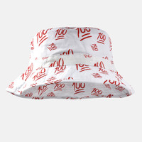 Emoji 100 white bucket hat