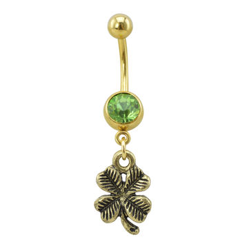 Antique Gold-Tone Four Leaf Clover Belly Ring