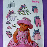 Infant Girl, Dress, Top, Panties, Shorts, Pants & Hat Size New Born, Small, Medium 13 lbs. - 22 lbs. Butterick 6033 Sewing Pattern Uncut